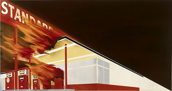 Ed Ruscha Burning Gas Station, 1965-66 Oil on canvas 20 1/2 x 39 in.