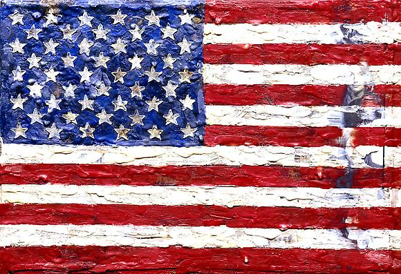 Jasper Johns Flag, 1965 Encaustic and collage on canvas 7 3/4 x 11 3/8 in.