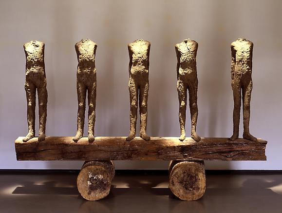 Five Small Figures on a Beam, 1992 Burlap, resin and wood 76 3/8 x 100 x 29 1/2 in. 194 x 254 x 74.9 cm