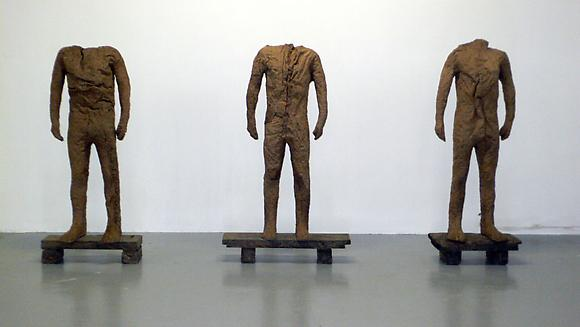 Winners A, B and C, 2000-2007 Burlap and resin 72 3/4 x 27 3/4 x 13 3/4 in. each 185 x 70.5 x 34.9 cm each