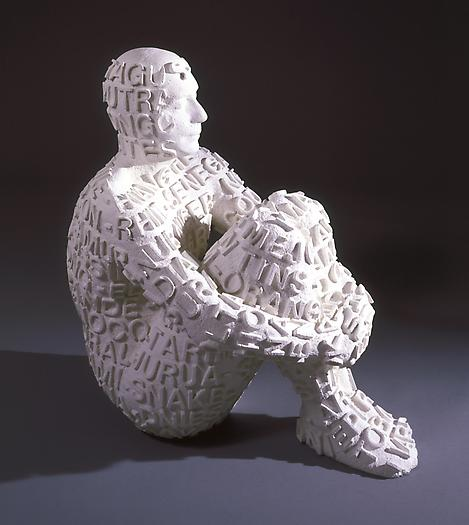 Self Portrait with Rivers II, 2006 Cast white marble 37 x 21 1/4 x 30 3/4 inches 94 x 54 x 78 cm
