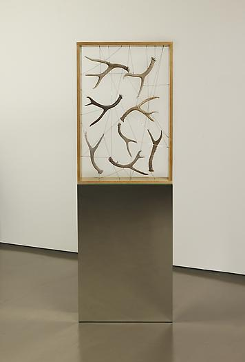 Untitled (Antler Box), 2006 Wood, silver chain, deer antlers, mirror 72 x 24 x 7 inches 183 x 61 x 18 cm