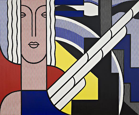Modern Painting with Classic Head, 1967 Oil and magna on canvas 68 x 82 in. 172.7 x 208.3 cm