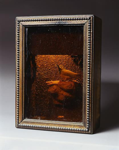 Joseph Cornell Illuminated Habitat with Bird, c. 1950 Lighted box construction with amber glass 12 3/4 x 9 x 4 3/4 in. 32.4 x 22.9 x 12.1 cm