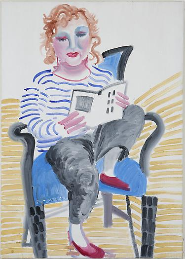 Celia with Her Foot on a Chair, 1984 Oil on canvas 25 11/16 x 18 5/16 inches 65.3 x 46.5 cm