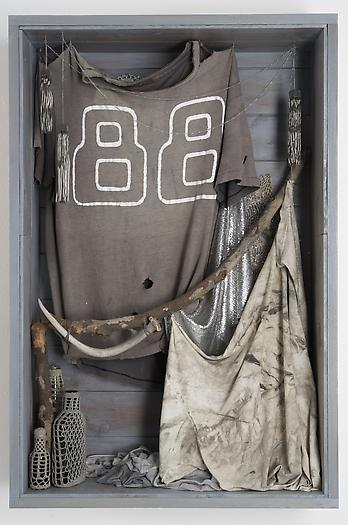 Untitled (88), 2006-2008 Wood, cotton t-shirts, glass bottles, antler, metal chain, fabric, glitter 36 x 24 x 7 1/2 inches 91.44 x 60.96 x 19.05 cm
