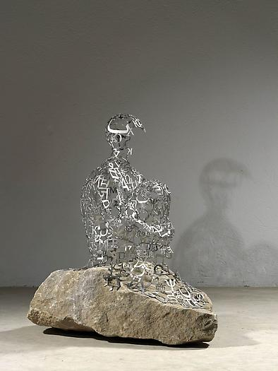 The Hermit I, 2011 Stainless steel and stone 38 5/8 x 21 5/8 x 35 3/8 inches 98 x 55 x 90 cm