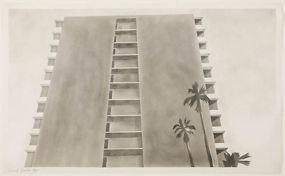 Apartment House: Doheny Drive, 1965 Graphite on paper 14 x 22 3/8 inches 35.5 x 57 cm