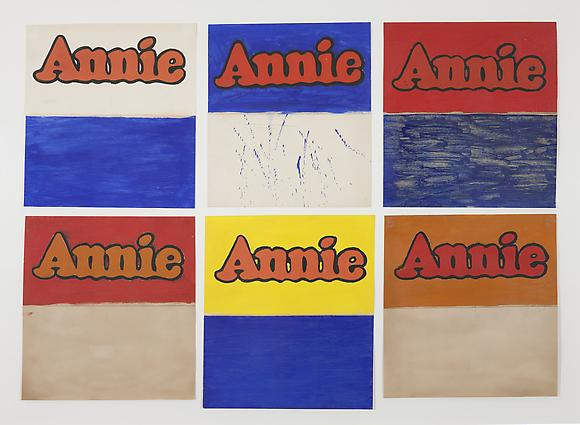 Six Studies of Annie, 1962 Graphite and watercolor on paper 14 x 14 inches (each) 36 x 26 cm (each)
