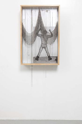 Untitled (Silver Box), 2012 Wood, paint, polyurethane, digital c-print, chains, metal fringe 68 x 24  8 inches 172.72 x 60.96 x 20.32 cm