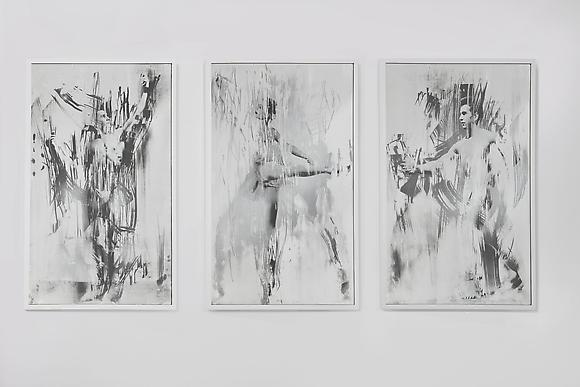 Untitled (Ballerina and Posing Men Triptych), 2012 Mirror, digital c-prints, wood frames 41 x 99 x 1 1/2 inches 104 x 251.5 x 4 cm