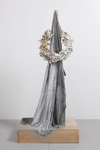 Untitled (Black Fabric & Wreath), 2012 Wood, fabric, artificial flowers, flexible slip, paint 79 x 36 x 24 inches 200.66 x 91.44 x 60.96 cm