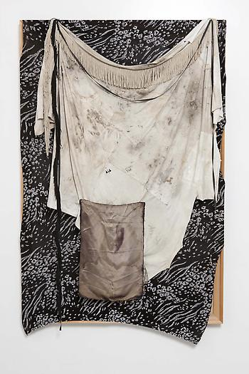 Untitled (Black and Silver Fabric Painting), 2012 Wood, t-shirts, spandex, fringe, trimmings 66 x 43 x 4 inches 167.5 x 109 x 8 cm