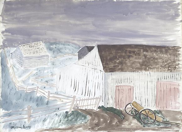 Pale Barns, Pink Doors, 1938 Watercolor 22 x 30 in. 55.8 x 76.2 cm