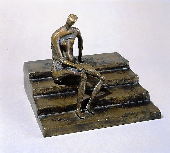 Seated Figure on Square Steps, 1957 Bronze 8 x 9  1/4 x 9 1/4 in.  20.3 x 23.5 x 23.5 cm