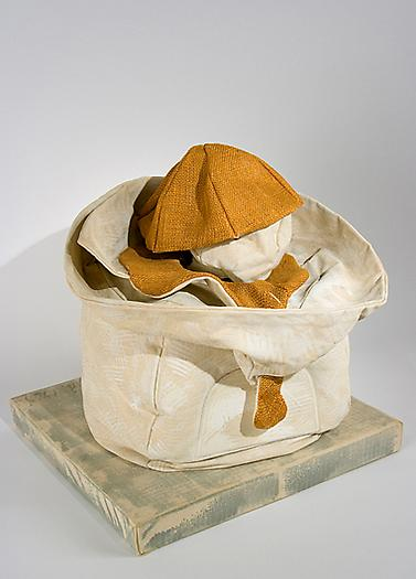 "Claes Oldenburg Soft Juicit- ""Ghost"" Version, 1965 Canvas filled with kapok, burlap painted with Liquitex on wood base covered with canvas 19 x 18 x 16 in. 48.3 x 45.7 x 40.6 cm"