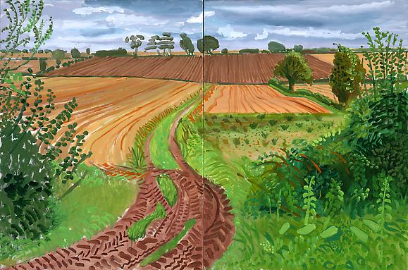 Between Kilham and Langtoft, 2006 Oil on canvas, in two parts 48 x 73 in. 121.9 x 185.4 cm