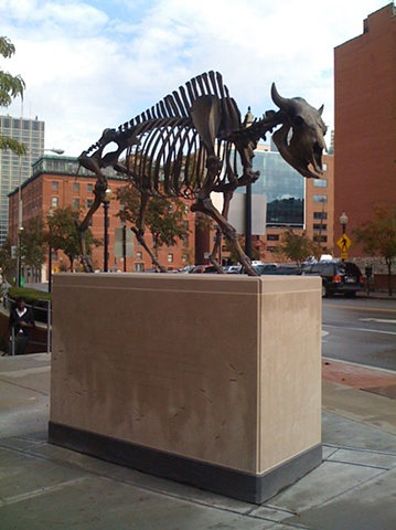 Descent of Civilization (Bison Memorial), 2010 Bronze, limestone 120 x 107 x 36 inches 304.8 x 271.78 x 91.44 cm