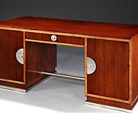 A Rosewood & Nickel Mounted Pedestal Desk