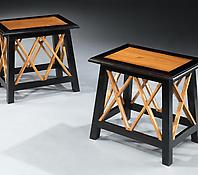 A Pair of Solid Ebony & Satinwood Occasional Tables