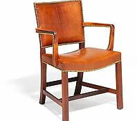 A Rare Mahogany & Leather Upholstered Armchair