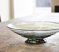 A Shallow Sea Green Ribbon Trail Bowl - Model 9031
