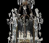 A Large Brass &amp; Glass Hanging Lantern in the Louis XV Taste