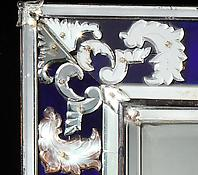 A Venetian Clear &amp; Cobalt Blue Glass Mirror