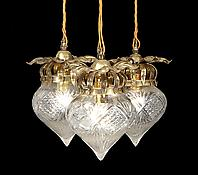 A Pair of Gilt-Brass & Cut-Glass Hanging Lights