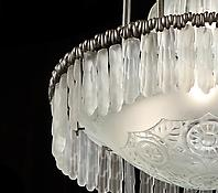 An Unusual Silvered Bronze & Glass Chandelier by Sabino