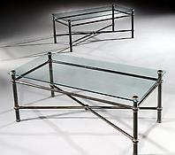 A Pair of Glass & Brass Coffee Tables