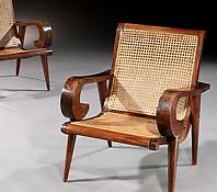 A Pair of Solid Rosewood & Caned Armchairs