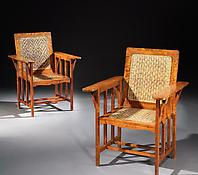 A Pair of Solid Satinwood & Rattan Armchairs