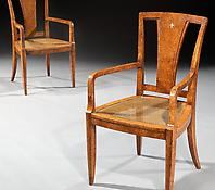 A Pair of Amboyna Veneered Armchairs in the Manner of Maurice Rinck
