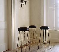 Gilt Bronze and Upholstered Bar Stools