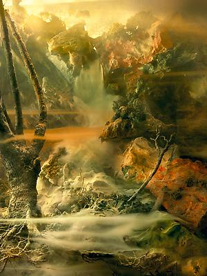 "Kim Keever ""Waterfall 114j"", 2010 edition of 6 + 1 AP c-print 85 x 64 inches Image"