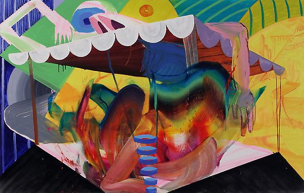 Collapse, 2011, oil and spray-paint on canvas, 48 x 72 inches Image