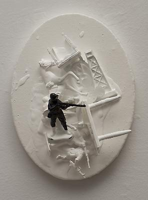 Untitled (with soldier), 2012 Acrylic and assemblage on canvas 8 x 6 x 3 inches Image