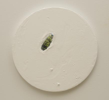 The Pond, 2011 Acrylic, assemblage, and figurine on canvas 12 inch diameter Image