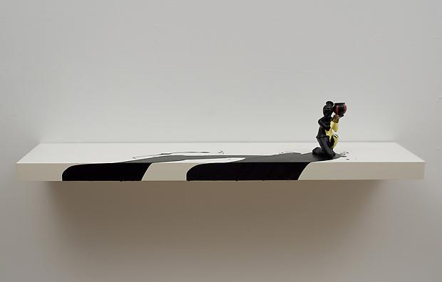 Girl with Vessel, 2012 Shelf with figurine and acrylic, wall installation 8 x 43 1/4 x 10 1/4 inches Image