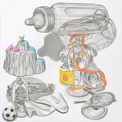 Melodie Provenzano Baby Bottle, 2010 Graphite, gouache and 24k gold leaf on paper 11 x 11 inches Image