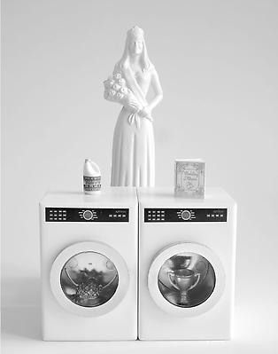 Rachel Hovnanian White Dress and Matching Appliances Archival Ink on Rag Paper 32 x 26 inches Image