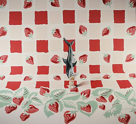 Melodie Provenzano Bunny Shark with Strawberries, 2008 acrylic and oil on canvas 64 x 70 inches Image