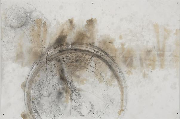 Graph (Time), 2012 Series of three pieces Graphite, tea and watercolor on paper Each panel, 35.5 x 24 inches  Photo by Maurene Cooper Image