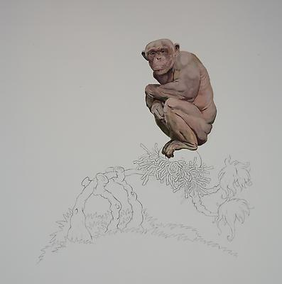Chimp on Egg, 2012 Oil on canvas 60 h. x 60 inches Image