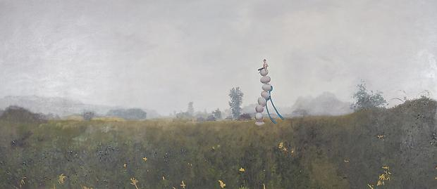 Egg Stack, 2012 Oil on canvas 47 h. x 108 inches Image