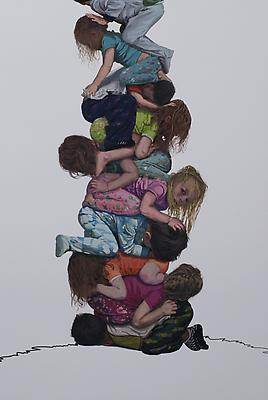 Stack, 2012 Detail Gouache over pigment print on paper 56 h. x 48 inches, framed Image