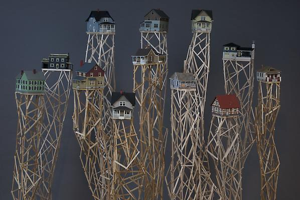 Homeland, 2012 Wood, plastic model houses Dimensions variable Image