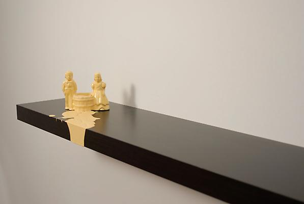 Yellow Drip, 2009 porcelain figurine and acrylic on wooden shelf 7 x 43 x 10 Image