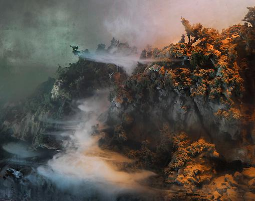 Kim Keever Waterfall 44d, 2010 edition of 6 + 1 AP c-print 55 x 69 inches Image